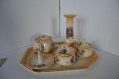 VINTAGE PORCELAIN DRESSER SET POWDER JAR  Flower Violets Yellow TRINKET BOX