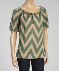 Look what I found on #zulily! Green & Khaki Zigzag Ruched Keyhole Scoop Neck Top by MOA Collection #zulilyfinds