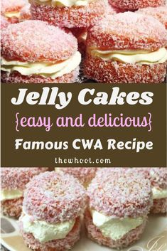 This Jelly Cakes CWA Recipe is a sweet treat you'll love to eat. They are a delicious old fashioned recipe that everyone loves. Mini Desserts, Delicious Desserts, Yummy Food, Plated Desserts, Baking Recipes, Cookie Recipes, Dessert Recipes, Mini Cakes, Cupcake Cakes