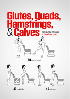 Glutes, Quads, Hamstrings & Calves Workout by DAREBEE Office-Friendly! More More from my site Chair Exercises to Strengthen Legs No Excuses: Chair Workout Total Body Toner No. Desk Workout, Workout At Work, At Home Workout Plan, Workout Challenge, At Home Workouts, Darbee Workout, Night Workout, Workout Plans, Quads And Hamstrings