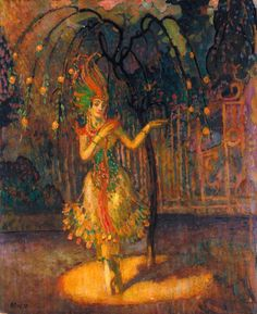 Tamara Karsavina, as the Firebird in 'L'Oiseau de Feu', the Ballet by Michel Fokine (c.1918). Adrian Paul Allinson (English, 1890-1959). Oil on hardboard. V&A. Karsavina created the role of the...