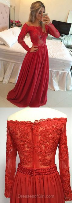 Off the Shoulder Prom Dress, Long Sleeve Prom Dresses, Red Evening Dresses, Lace Party Dresses, Sexy Formal Dresses