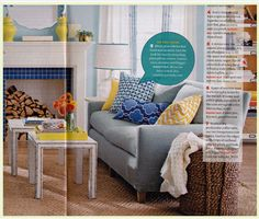 Love this cute yet comfortable living room, straight out of BHG magazine.