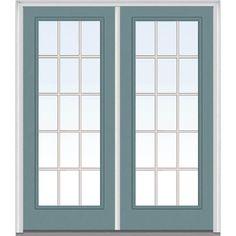 Milliken Millwork 66 in. x 81.75 in. Classic Clear Glass GBG Full Lite Painted Fiberglass Smooth Exterior Double Door, Riverway