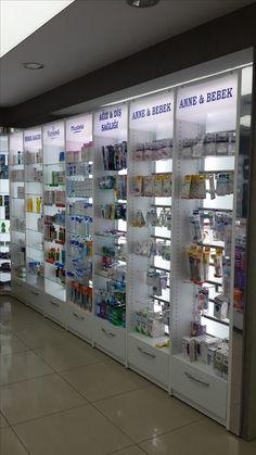 Pharmacy design&Eczane dizayn 0212-6499565 www.rafso.com Supermarket Design, Retail Store Design, Showroom Design, Shop Interior Design, Pharmacy Store, Store Layout, Cosmetic Shop, Phone Shop, Clinic Design