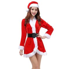 b636af73716 OULII Santa Claus Costume Womens Santa Suit Christmas Fancy Dress Costume  with Dress Belt and Hat One Size - 3 Pieces