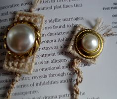Pearl and Gold Knotted Bookmark by MastersCreations on Etsy, $8.00