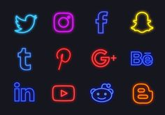 Free Neon Social Media Logos