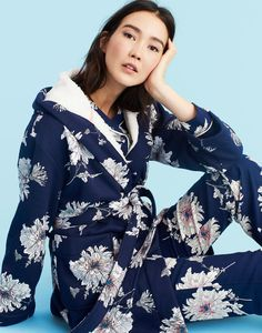 c5c46892b3 Idlewhile French Navy Peony Fleece-Lined Dressing Gown