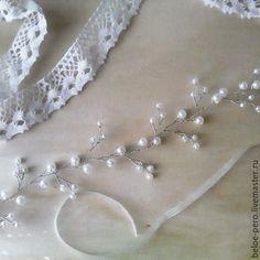 Купить Венок свадебный - белый, венок, свадьба, свадебный венок, венок из бусин, для невесты, для свадьбы