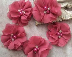 strass perles pour serre-tête Cheveux Accessoire 20pcs DENTELLE SHABBY Mousseline Fleur