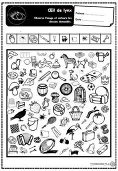 Oeil de lynx, lecture, mots, concentration, cep, Gs, Ce1retrouver les  dessins correspondant à des mots donnés
