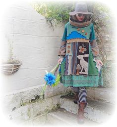 Cashmere Hare Jumper Dress Smock Sweater Upcycled Hoodie Hippie Cosy Whimsical Rustic Pagan Recycled Eco Clothing Wearable Art. Medium/Large