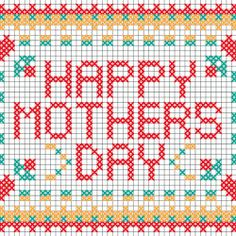 #DIY Mother's Day cross stitch postcard    #family #Mother