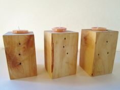 Block Candle Holders Set of 3 Wood Candle by DivineRusticCreation, $20.00  These are handmade and candles  are included and they are handmade also, but will be white and unscented #candle holders #rustic decor #candle