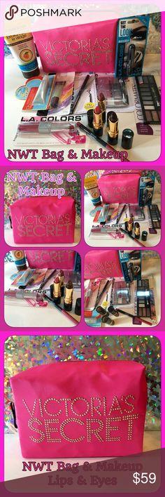 NWT VS Pink Bag/NWT 12 item Lips & Eyes Makeup Set NWT Victoria's Secret Hot Pink Large Cosmetic Bag with Studded name. All new Lips & Eyes set contains- 2 Revlon Lipsticks (wine w/ everything & Black Cherry), 1 Estée Lauder Lipstick(Hot Kiss Shimmer), 1 Revlon Lipliner (pink), LA Colors Lipstick/lipgloss combo, Lip Sugar Raspberry Scent Gloss, NYC Kiss Gloss, 1 black eyeliner, 1 black mascara, 2 eyeshadow palettes (24 colors), 1 Apricot Facial Scrub. 12 items plus bag! Reasonable offers…