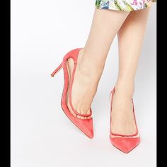"Spring Fling Pink & Clear Heels Faux suede upper  Cut-out design Pointed toe  High stiletto heel Wipe with a soft cloth  50% Polyurethane, 50% Textile upper  Heel height: 3"" ASOS Shoes Heels"