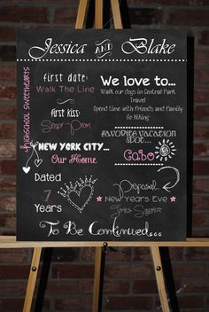 Custom Printable Engagement Party or Bridal Shower Board Poster. $35.00, via Etsy.