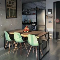 Design Kitchen Industrial Dining Tables Ideas For 2019 Dining Room Design, Interior Design Living Room, Kitchen Design, Dinner Room, Industrial Dining, Cuisines Design, Kitchen Interior, Interior Plants, Interior Doors