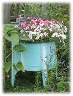 Coca Cola Cooler Planter – What's your most unusual planter? – Garden Junk F… - Modern Garden Junk, Garden Planters, Garden Items, Unique Gardens, Amazing Gardens, Container Plants, Container Gardening, Flower Gardening, Old Washing Machine