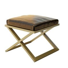 Everly Quinn Ahumada X-Base Leather Contemporary Vanity Stool Color: Brown, Finish: Gold
