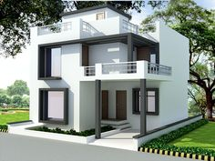 Indian Home Design Plans Elegant front elevation designs for duplex houses in… – House Duplex House Design, House Front Design, Modern House Design, Indian Home Design, Front Elevation Designs, House Elevation, Style At Home, House Design Pictures, Rustic Stairs