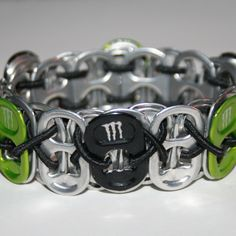 Lime Green and Black Monster Pop Can Tab Bracelet by eclecticKel