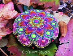 AUTUMN MANDALA-Hand Painted Stone