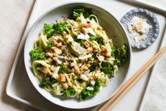 avocado green curry noodles w/toasted coconut and cashews