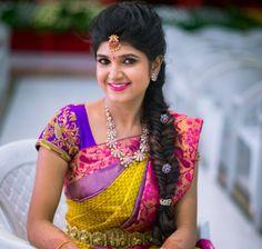 hairstyle on saree wedding indian bridal & hairstyle on saree wedding ; hairstyle on saree wedding hair ; hairstyle on saree wedding indian bridal Indian Hairstyles For Saree, Bridal Hairstyle Indian Wedding, South Indian Bride Hairstyle, Saree Hairstyles, Bridal Hairdo, Indian Bridal Wear, Short Hairstyles, Braided Hairstyles, Wedding Braids