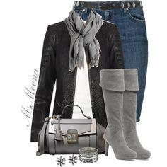 Leather biker jacket and denim skirt
