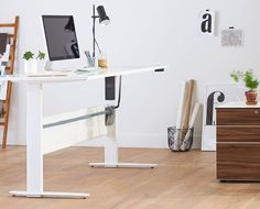 Scandinavian Designs - Modernize your workspace with the Network Plus Sit/Stand desk. This height adjustable desk is perfect for changing it up and energizing your posture. With a motorized adjuster, the desk raises from 27 Home Office Design, Home Office Decor, Home Decor, Office Ideas, Office Designs, Desk Ideas, Contemporary Office Desk, Modern Contemporary, Desk Redo