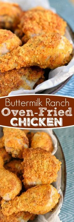 Marvelous This Buttermilk Ranch Oven Fried Chicken is bound to become a new family favorite! Juicy and moist on the inside and crunchy on the outside! The post Buttermilk Ranch Oven Fried Chicken appeared first on MIkas Recipes . Fried Chicken Recipes, Meat Recipes, Cooking Recipes, Recipes Dinner, Baked Chicken, Game Recipes, Chicken Legs, Chicken Gravy, Gastronomia