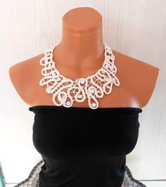 Romanian Point Lace, Needle Lace,Collar Necklace. $39.00, via Etsy.