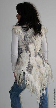 Nuno Felting, Needle Felting, Clothing Boxes, Gypsy Chic, Wool Vest, Textile Design, Fiber Art, Textiles, Knitting