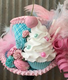 Pink and Blue Cupcake Mini Top Hat Mad hatter Hat Alice in
