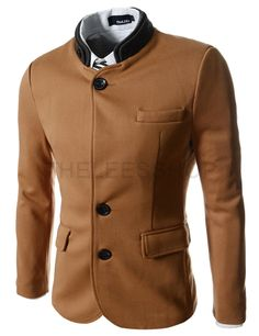 (CJK2-BROWN) Double Collar 3 Button 2 Tone Blazer