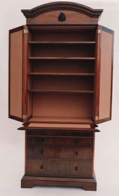 American Walnut and Nigerian Ebony drinks cabinet, interior