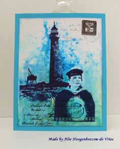 Alie Hoogenboezem-de Vries: Two stamped cards - Brusho and Bister