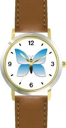 Blue Gradient Butterfly - JP Animal - WATCHBUDDY® DELUXE TWO-TONE THEME WATCH - Arabic Numbers - Brown Leather Strap-Size-Children's Size-Small ( Boy's Size & Girl's Size ) WatchBuddy. $49.95. Save 38%!