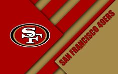 Download wallpapers San Francisco 49ers, NFC West, 4K, logo, NFL, red brown abstraction, material design, American football, San Francisco, California, USA, National Football League