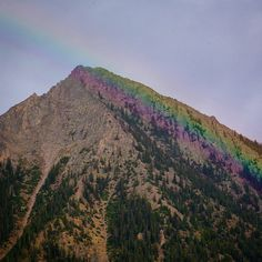 Last night's #rainbow coloring the edge of #thebutte #CrestedButte #colorado #summer #scenic