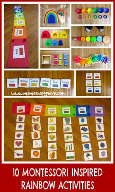 Please enjoy 10 Montessori Inspired Toddler Rainbow activities for your child to learn sequencing, fine motor skills, language work, and more. - www.mamashappyhive.com