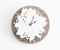 Rain Drop Clock- Rainy Day Wall Clock with Cloud, Rain drop, Umbrella, Birds. $75.00, via Etsy.
