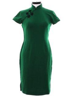 1960's Womens Cheongsam Wiggle Cocktail Dress