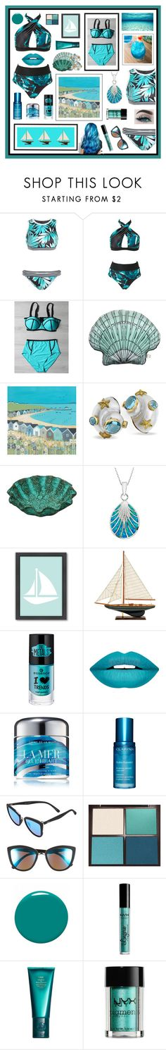 """""""Ocean Blue Bikinis"""" by beanpod ❤ liked on Polyvore featuring Silken Favours, NOVICA, Americanflat, Forever 21, La Mer, Clarins, Quay, Tom Ford, Dolce&Gabbana and NYX"""