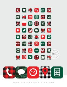 iPhone Apps App Designs Christmas Aesthetic iPhone ios14 App Icons, Holiday, Buffalo Plaid Christmas Tree, Shortcuts Imagines, 61 App Pack