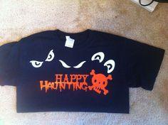 Halloween tee shirt using glow in the dark heat transfer vinyl.  For more info visit http://clippingsbysharondalyn.blogspot.com