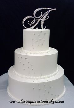 Silver Sparkle Wedding Cake @ Las Vegas Custom Cakes