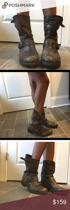 Frye Veronica Slouch Boots Frye Veronica Slouch Boots is a staple in distressed butter soft chocolate leather, super comfortable and cute to wear with everything!  Excellent condition Frye Shoes Combat & Moto Boots